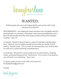 Seamstress Resume Honeybear Lane Is Hiring Honeybear Lane