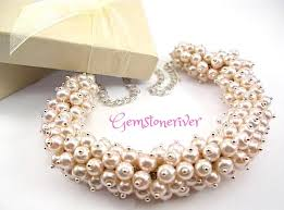 bridesmaid statement necklaces chunky bib pearl cluster statement necklace gemma light