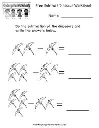 kindergarten subtract dinosaur worksheet printable occupational