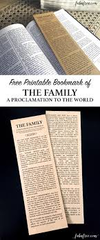 family proclamation free printable bookmark of the family a proclamation to the world