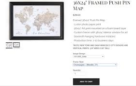 detailed info how to order a framed push pin map from artisan