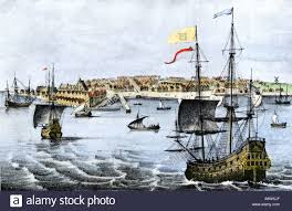 sailing ships arrving in dutch colony of new amsterdam in 1667