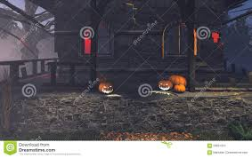 porch at night carved pumpkins on the porch at night stock illustration image