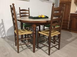 sedie rovere tavolo tondo legno di rovere piano laminato allungabile con 4