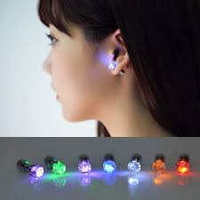 led earrings 1 pair light up led earrings studs blinking stainless