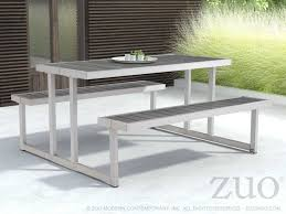 Zuo Outdoor Furniture by Zuo Outdoor Cuomo Aluminum Faux Wood 62 60 X 59 Rectangular Picnic
