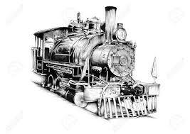 old steam locomotive engine retro vintage drawing stock photo
