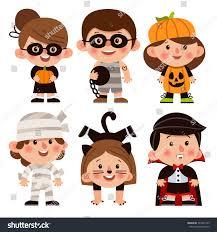 set cartoon characters halloween children dressed stock vector