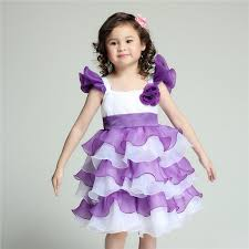 2017 tiered formal flower dresses purple kids wedding