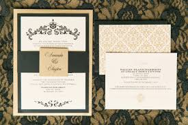 damask wedding invitations gold black damask wedding invitation with envelope liner