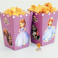 in party supplies 6pcs lot sofia the kids party supplies popcorn box gift