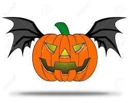 halloween pumpkin comic with bat wings flying on white background