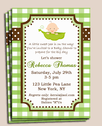 pea in a pod baby shower invitation printable or printed w