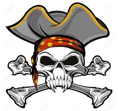 skull and crossbones with gray pirate hat royalty free cliparts