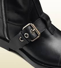 mens buckle biker boots gucci leather biker boot in black for men lyst