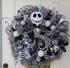 Halloween Mesh Wreaths by Jack Skellington Wreath Nightmare Before Christmas Wreath