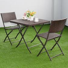 Wicker Bistro Table And Chairs Costway 3 Pc Outdoor Folding Table Chair Furniture Set Rattan