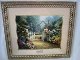 kinkade library edition cottage framed matted