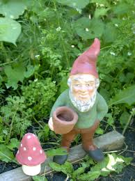 chadwick original style garden gnome w flowerpot and free mushroom