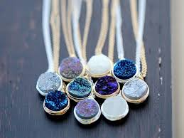 new pendant necklace images Druzy bezel pendant necklaces new colors saressa designs jpg