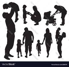 set of family silhouettes royalty free vector image