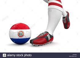Paraguayan Flag Man And Soccer Ball With Paraguayan Flag Clipping Path Included