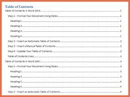 table of contents word template bio example