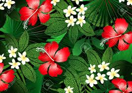 flowers and plants detailed tropical flowers and plants illustration royalty free