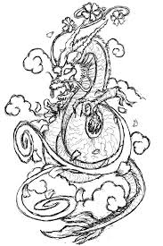 dragon flying in the clouds tattoo sketch tattoomagz