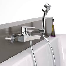 bathtub mixer tap shower wall mounted chromed metal dream