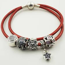 bracelet leather pandora images Pandora smooth red leather bracelet with 5 assorted charms ale jpg