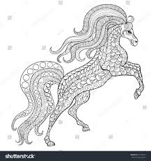 hand drawn horse antistress coloring page stock vector 305178761