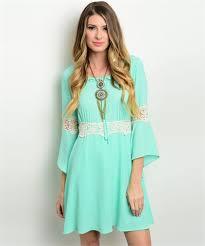 cowgirl gypsy boho mint crocheted bell sleeve dress western small
