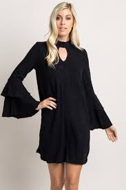black ruffle bell sleeve sweater dress