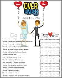 Wedding Shower Games Wedding Shower Game Over Or Under Bride Trivia Diy Option