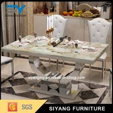 marble and stainless steel dining table china antique furniture banquet table stainless steel dining table