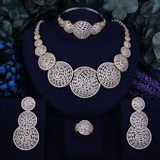 zirconia necklace set images Godki luxury round shape nigerian engagement naija bridal cubic jpg