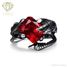 mens ruby rings vintage red cubic zirconia snakes titanium