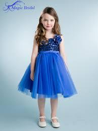 Wedding Dresses For Kids Aliexpress Com Buy Royal Blue Knee Length Children Flower Girls