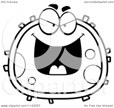 cartoon clipart of a black and white evil blood cell vector
