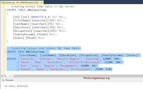 Sql Declare Temp Table Temp Table In Sql Server