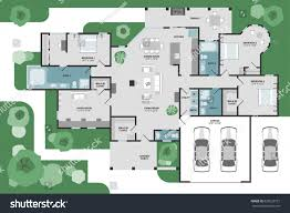 floor plan house modern unique graphic stock vector 635620721