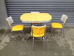 S S Retro Vintage Yellow Chrome Formica Kitchen Table And - Formica kitchen table