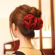 flower accessories fashion korean beauty ribbon flower bow jaw clip barrette