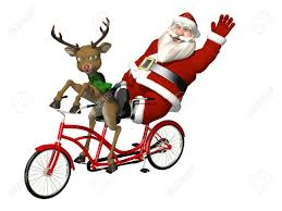 santa and reindeer bicycle built for two a red nosed reindeer