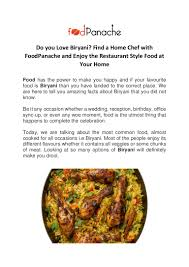 cuisine compl e uip do you biryani find a home chef with food panache and enjoy the