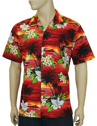 sunset island cotton hawaiian shirt shaka time hawaii