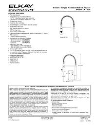 elkay kitchen faucet parts elkay lk7420bc user manual 1 page also for lk7420cr lk7420nk