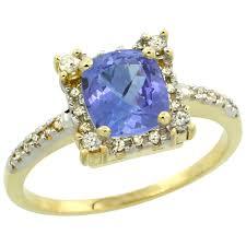 10k Yellow Gold Diamond Jewelry Color Gemstone Rings Tanzanite