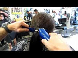 ponytail haircut technique chop off 10 inch ponytail into graduated bob clipper haircut video
